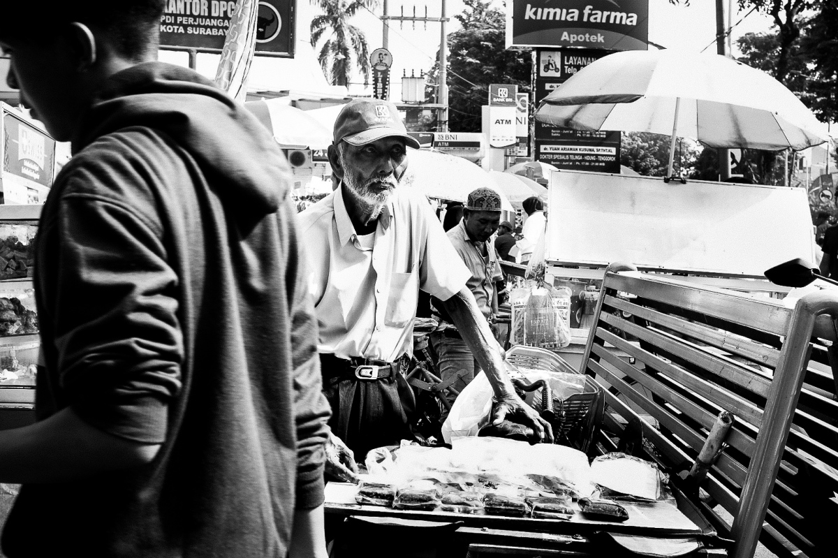 Open market at car free day in Surabaya Java by Bali Street Photographer