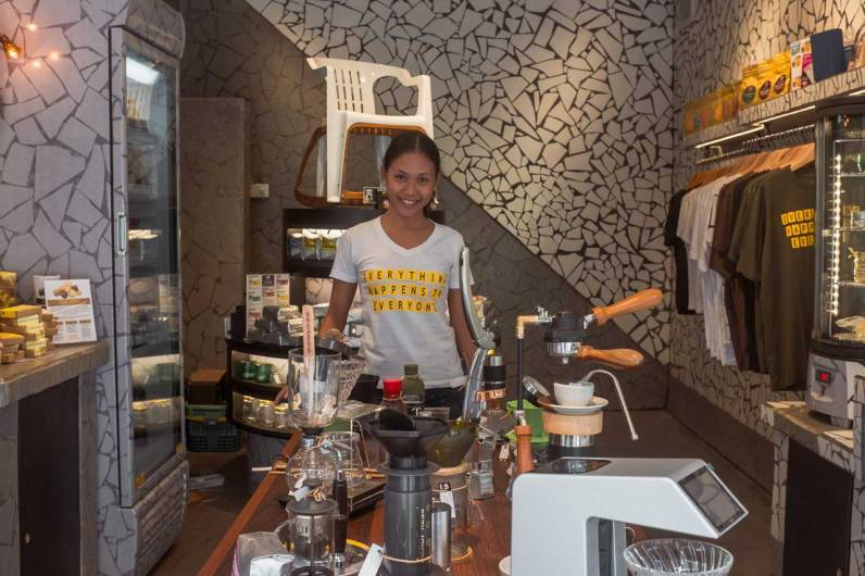 Service with a smile at the Seniman retail shop.