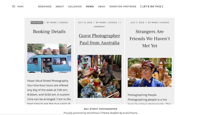 New Grid Layout for the News Blog Page on Bali Street Photographer