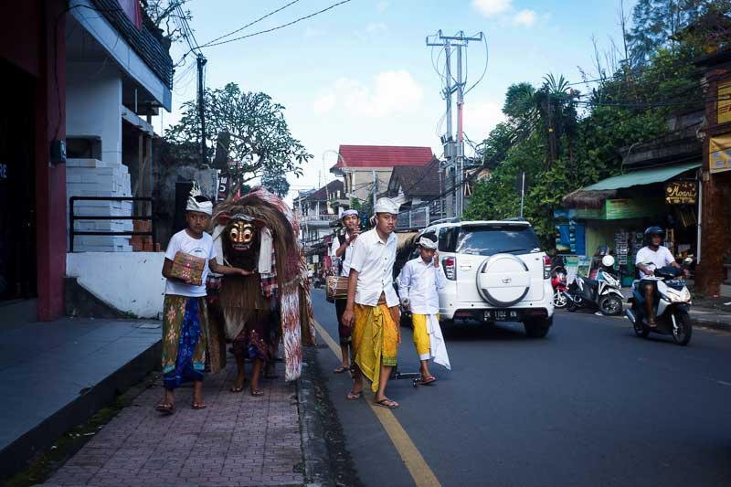 Balinese Kids with a Barong Galungan Kuningan - Bali Street Photography Tours - Ubud Bali