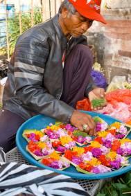 Balinese Man Making Canang Sari Offerings Pasar Ubud - Bali Street Photographer Tour